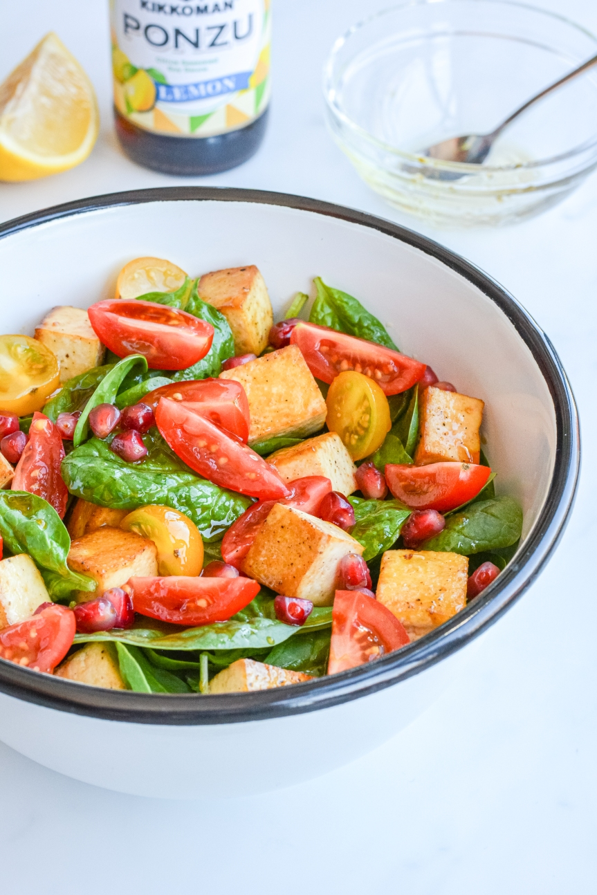 Tofu & Spinach Salad in Ponzu Vinaigrette